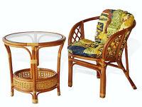 Bahama Rattan Wicker Set Of Chair W/cushion & Round Coffee Table W/glass Top