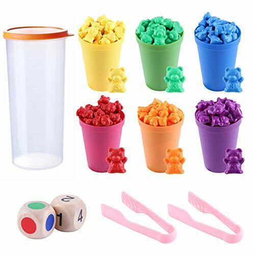 71 Pcs Counting Bears Set Rainbow Counting Bears with Matching Sorting Cups