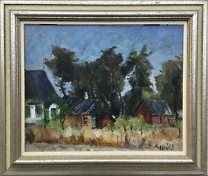 Otherwise-Olson-1880-1955-houses-in-southern-Sweden-Skane-Oil-Painting-47-x-55-cm