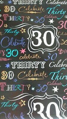 2 Fogli Carta Da Pacco Regalo Wrap Compleanno 30 Trenta Design-