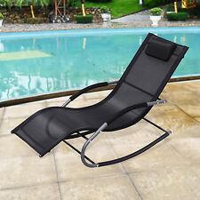 Wave Rocking Lounger Chair In/Outdoor Patio Seat Mesh Garden Furniture Black