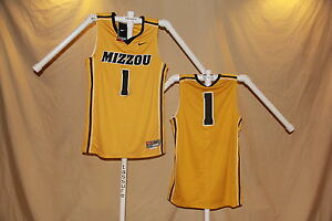 quality design e9bfb e5a04 Details about MISSOURI TIGERS sewn #1 Nike $75 retail BASKETBALL JERSEY XL  NWT gold