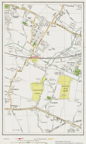 Hayes Southall Cranford area Map London 1932 #148