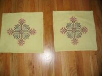 Pillow Cover Vintage Cross Stitched Set Of Two Yellow