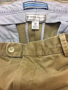 men-039-s-PETER-MILLAR-Chino-Khaki-Pima-Cotton-Flat-Front-Casual-Pants-sz-32-x-30