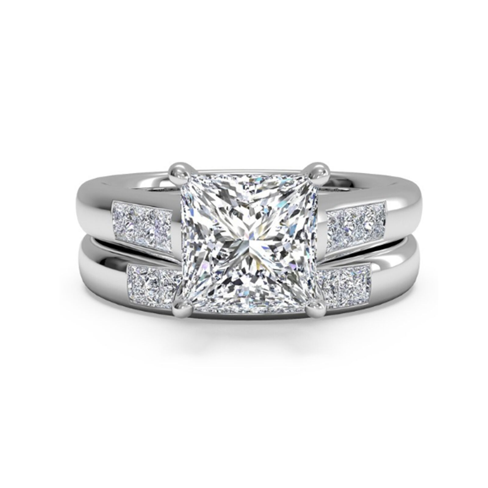 Princess Solitaire 1.50Ct Diamond Engagement 14K White gold Rings