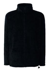Mens-Mans-Fruit-of-the-Loom-Plain-BLACK-Full-Zip-Fleece-Jacket-S-XXL