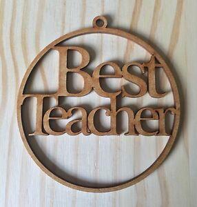 """""""best Teacher"""" Arbre De Noël Babiole, Gift Tag, Anniversaire Tag, Professeur De Jour-afficher Le Titre D'origine"""