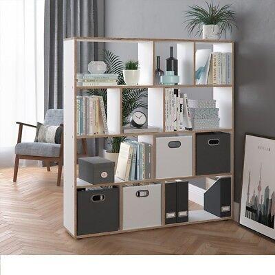 Amabile Libreria In Legno Moderna Scaffale Divisorio Studio Ufficio Con 12 Scomparti