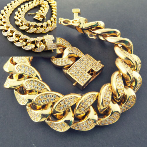 Necklace Chain Bracelet 18k Yellow Gold G//F Solid Diamond Simulated Iced Cuban
