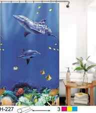 """NEW COMMERCIAL PACKAGED 71"""" x 71"""" SWIMMING DOLPHINS SHOWER CURTAIN WITH HOOKS"""