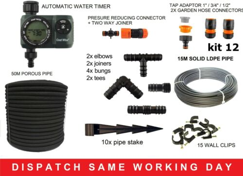 Hedging //border water kits 50m porous pipe//drip//soaker hose,optional accessories