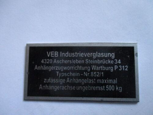 Typenschild AHK AZV s39 Anhängerkupplung Wartburg 312 VEB Industrieverglasung
