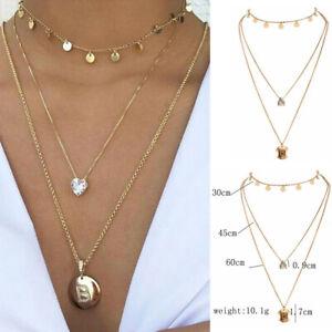 Gold-Women-Multi-layer-Long-Chain-Heart-Pendant-Choker-Necklace-Jewelry