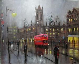 100-HAND-PAINTED-ART-ACRYLIC-OIL-PAINTING-rainy-CITYSCAPE-FIGURE-16X20INCH