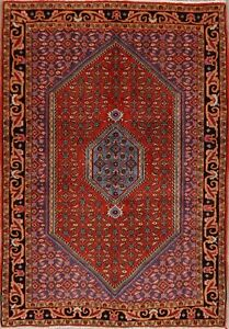 Excellent-Vintage-Geometric-Bidjar-Area-Rug-Wool-Hand-Knotted-RUST-RED-4-039-x5-039
