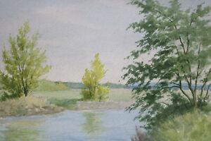 Gustav-Mueller-Aquarell-Am-Flussufer-Januar-1977