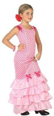 Girls Rosa Ballerina Di Flamenco Spagnolo In Tutto Il Mondo Costume Vestito-mostra Il Titolo Originale Vendite Economiche 50%