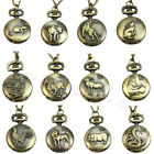 Vintage Men Women Chinese Zodiac Snake Dog Tiger Quartz Pocket Watch Necklace