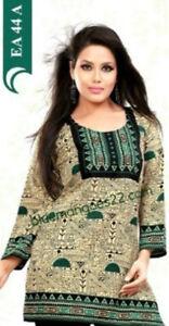 Womens-Indian-Pakistani-Tunic-Kurta-Kurti-Crepe-Printed-Long-Sleeves-New