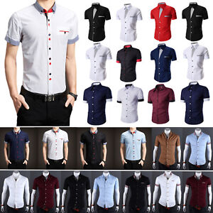 Mens-Short-Sleeve-Button-Down-Slim-Dress-Shirts-Solid-Casual-Shirt-Formal-Tops