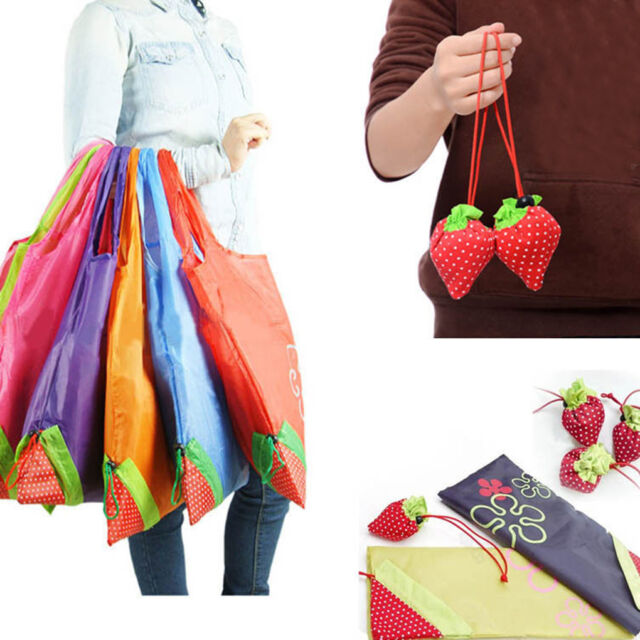 Reusable Strawberry Folding Fold Up Compact Eco Recycling Use Ping Bag