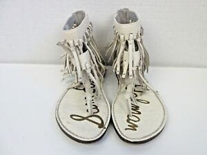 8764c3590 Sam Edelman Womens Sz 5 Griffen White Leather Fringe Sandal ...