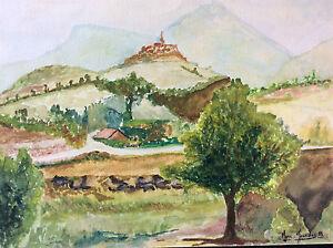 Provence-Village-Provencal-Watercolour-Signed-Marc-Jourdan-81-France