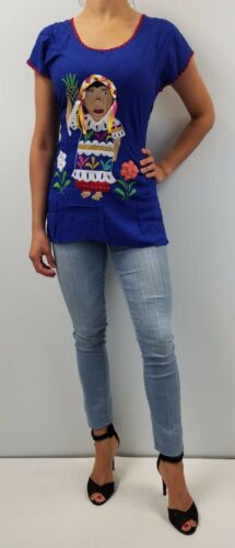 Girl Blouse//Dress Hippie Peasant Shirt Oaxaca Mexican Hand Embroidered  Doll