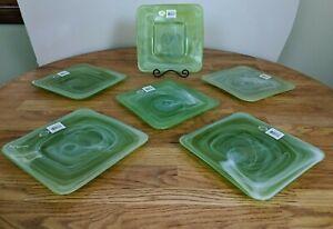 Set-Of-6-Abbott-NWT-Green-amp-White-Swirl-Art-Glass-Plates-8-1-4-034-Square