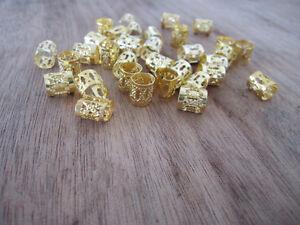 100 Golden Dreadlock Beads Adjustable Hair Braid Cuff Clip 8mm Hole