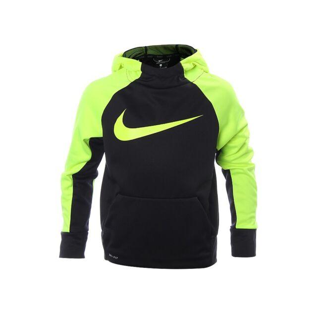 Boy's Nike Dri Fit Therma Training Hoodie Jacket BlackVolt 803895 010 NWT