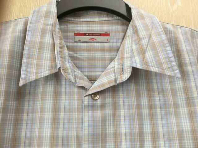 Lee Copper Shirt Size Large L Brown Blue Cream Check & Floral Short Sleeve VGC