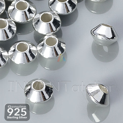 Argent Sterling 925 4.5 mm Lisse soucoupe Spacer Beads Jewellery Making Findings