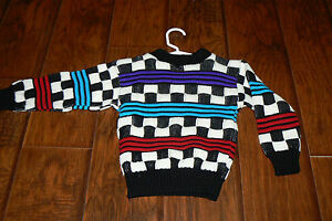 Vintage Retro Checkered Boys 2t 2 3 Toddler Knit Ugly Christmas