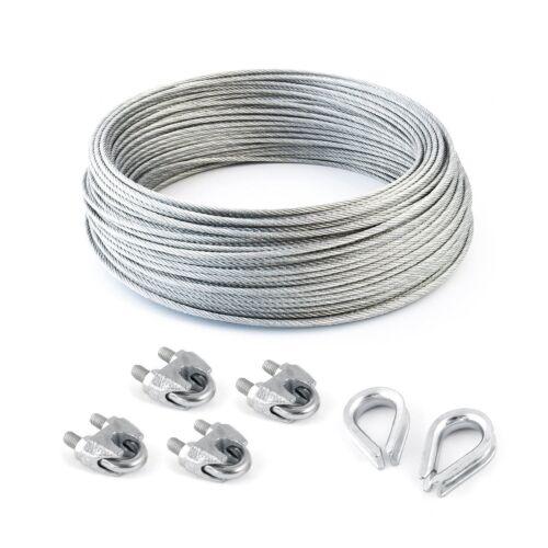 SET 25m câble acier galvanisé 6x7 5mm 4 serre-câbles étrie et 2 cosse coeur