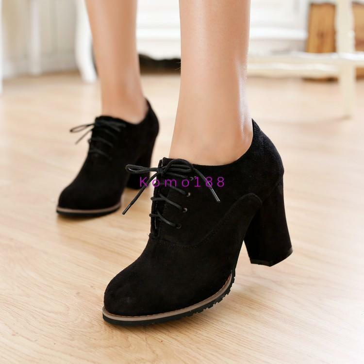 New Women Fashion Round  Foot Ankle Boots Faux Suede Lace Ups Autumn shoes