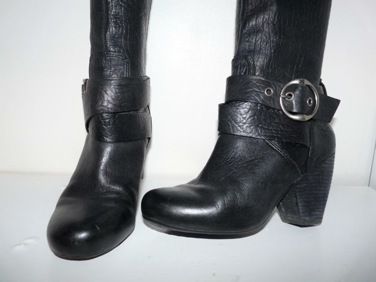 Lucky Brand Black Full Grain Leather Mid Calf Boots 6.5M