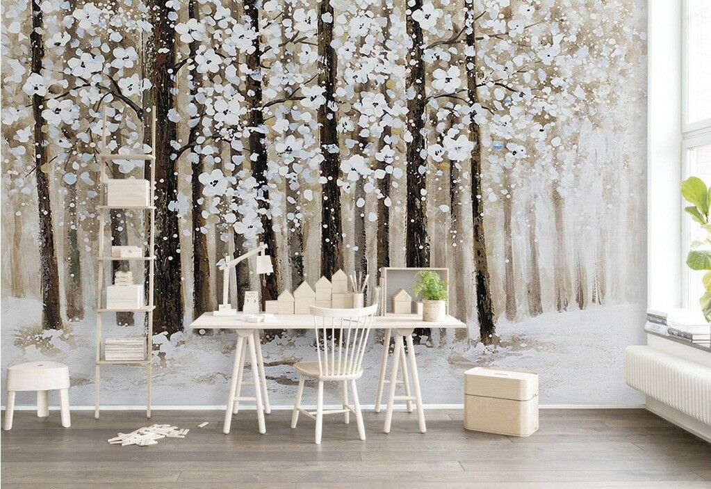 3D Snowflake Forest 5 Wall Paper Exclusive MXY Wallpaper Mural Decal Indoor wall