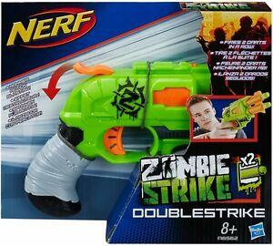 Image is loading NERF-Gun-Zombie-Strike-Doublestrike-Blaster-Toy-Including-