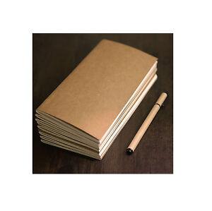 6x Cuaderno Notebook VINTAGE Tapa Kraft  Papel Crema LISO Estilografica 4419a