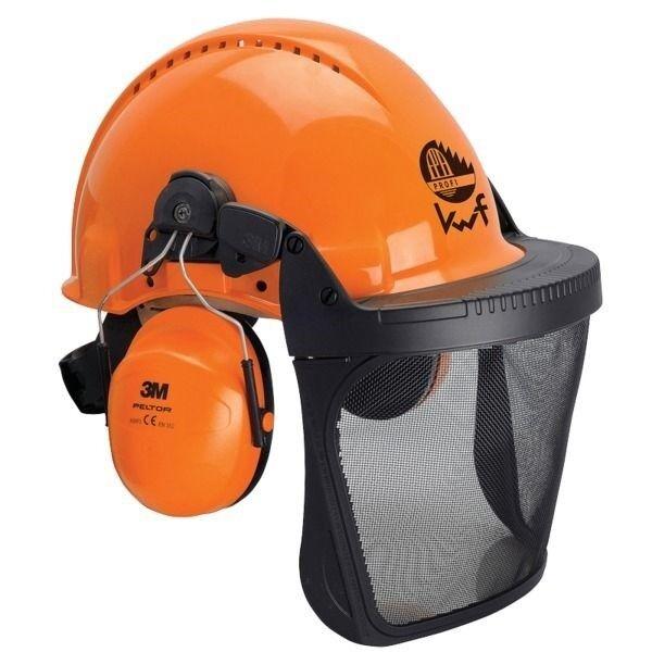 und Gehörschutz Arbeitshelm 3M Forsthelm-Kombination mit Gesichts