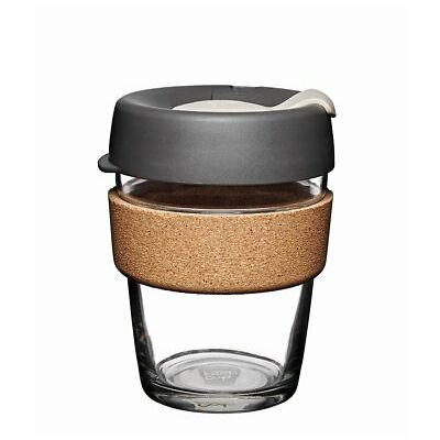 KeepCup 12oz Reusable Coffee Cup. Toughened Glass Cup & Natural Cork Band. 12...