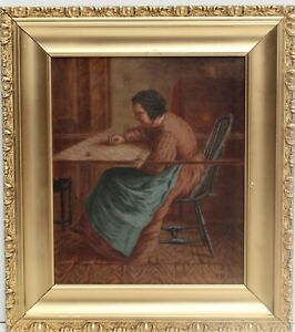 19-century-Antique-original-Oil-Painting-on-canvas-Female-portrait-signed