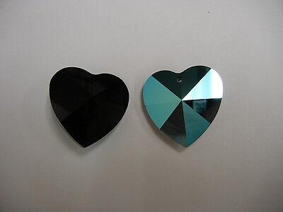 2 swarovski discontinued crystal strass hearts,28mm jet AB #8781 w/ logo