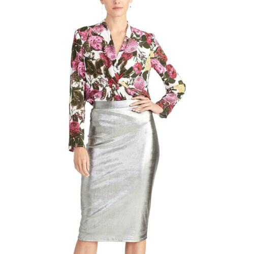Rachel Roy Womens IGGY SILVER SKIRT Silver Metallic Pencil Skirt XS BHFO 7603