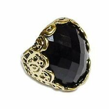 Großer Gothic Ring massiv 17 mm schwarz gold -farbig Vintage Retro Y012 Neu