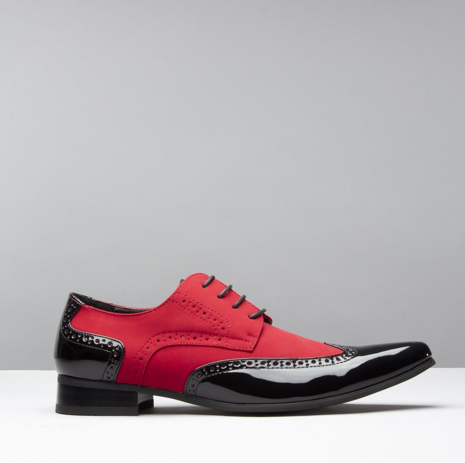 Mister Carlo ARTISTA Mens Formal Funky Pointed Faux Suede Patent shoes Black Red