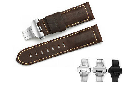 24mm Genuine Calf Leather Watch Band Strap Rustic Deployment Clasp For Panerai