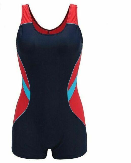 Sport Swimwear Women Patchwork Racer Back Boyleg Bathing Suit One Piece Swimsuit